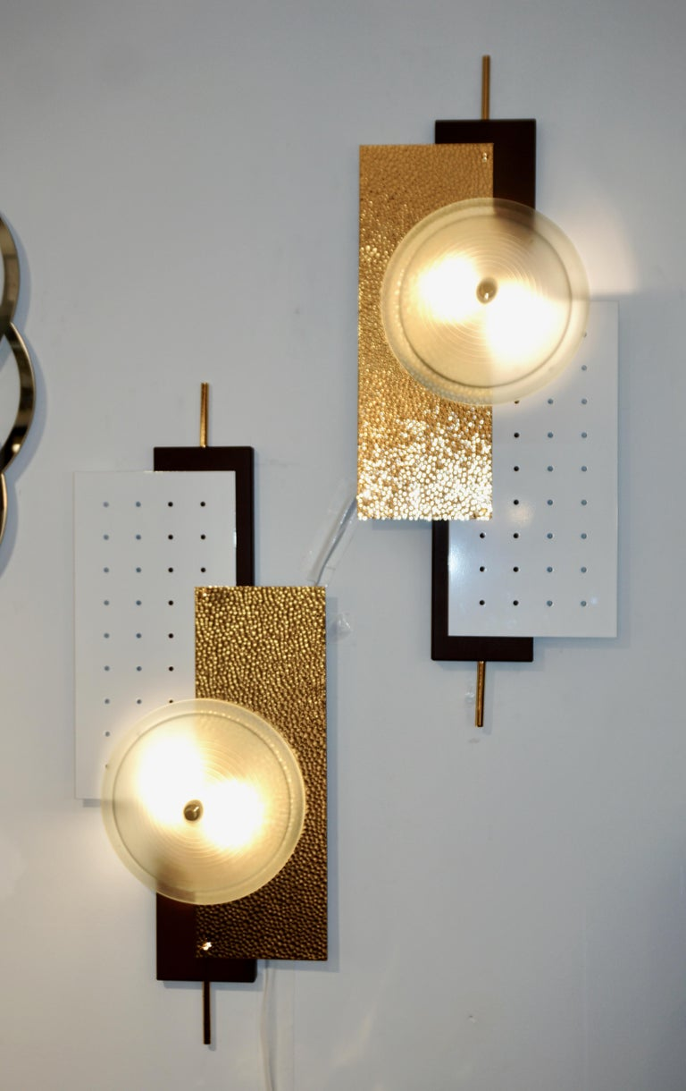 Organic Modern Italian Modernist Gold White & Brown Geometric Textured Metal & Glass Sconces For Sale