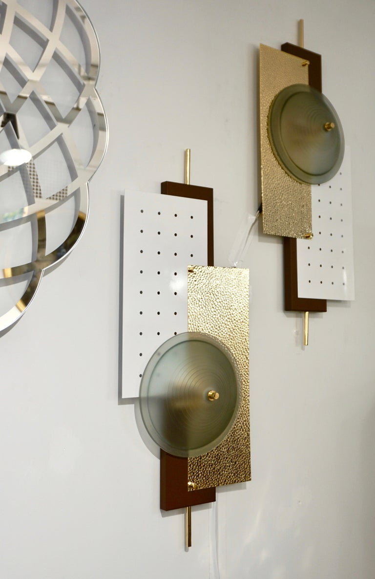 Gilt Italian Modernist Gold White & Brown Geometric Textured Metal & Glass Sconces For Sale