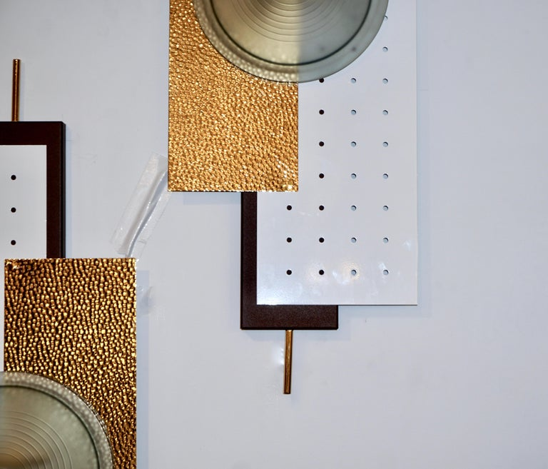 Contemporary Italian Modernist Gold White & Brown Geometric Textured Metal & Glass Sconces For Sale