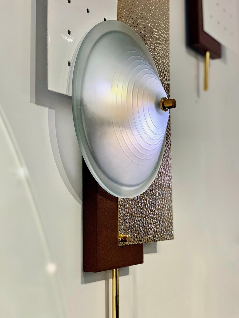 Italian Modernist Gold White & Brown Geometric Textured Metal & Glass Sconces For Sale 1
