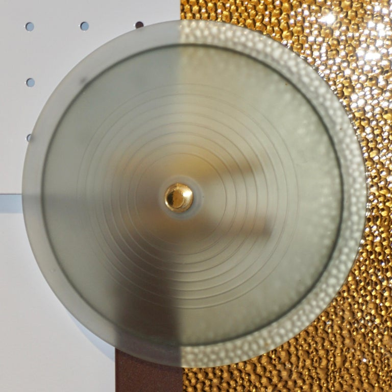 Italian Modernist Gold White & Brown Geometric Textured Metal & Glass Sconces For Sale 5