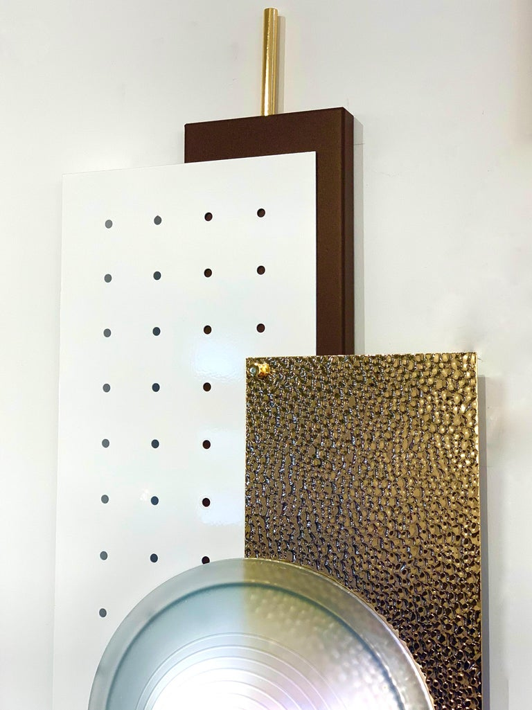 Italian Modernist Gold White & Brown Geometric Textured Metal & Glass Sconces For Sale 2