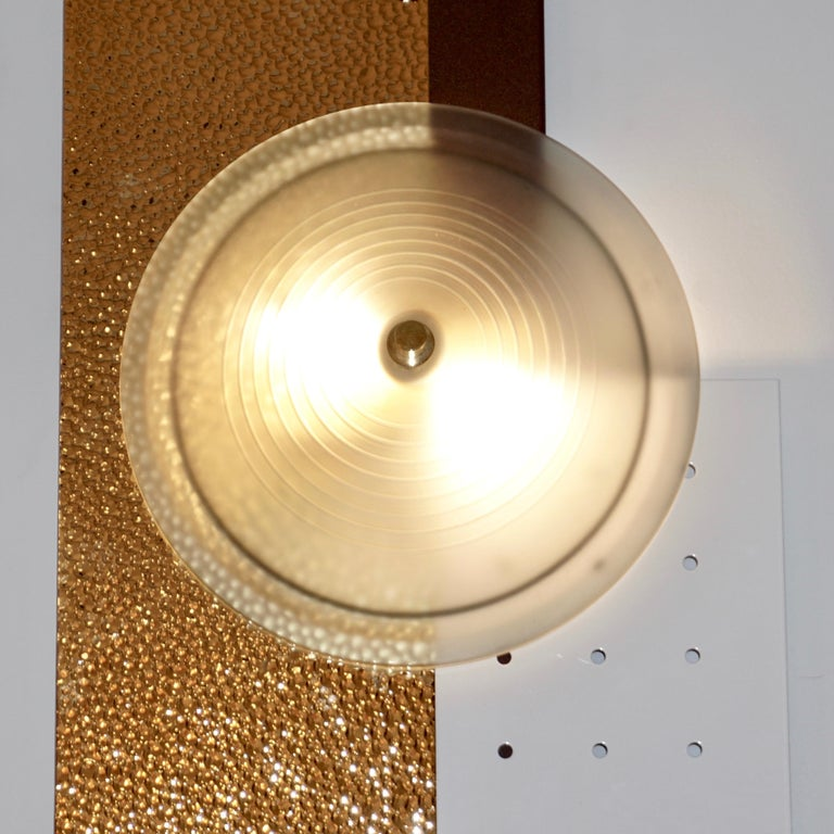 Italian Modernist Gold White & Brown Geometric Textured Metal & Glass Sconces For Sale 6