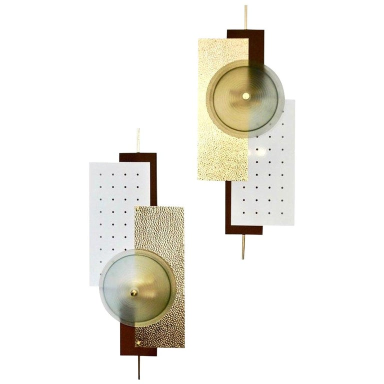 Italian Modernist Gold White & Brown Geometric Textured Metal & Glass Sconces For Sale