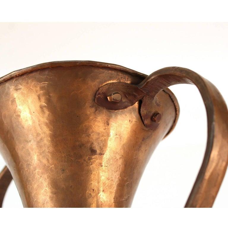 Italian Modernist Hammered Copper Vase For Sale 2