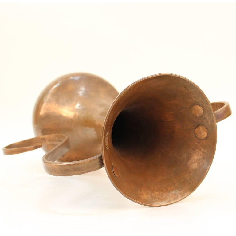 Italian Modernist Hammered Copper Vase For Sale 4