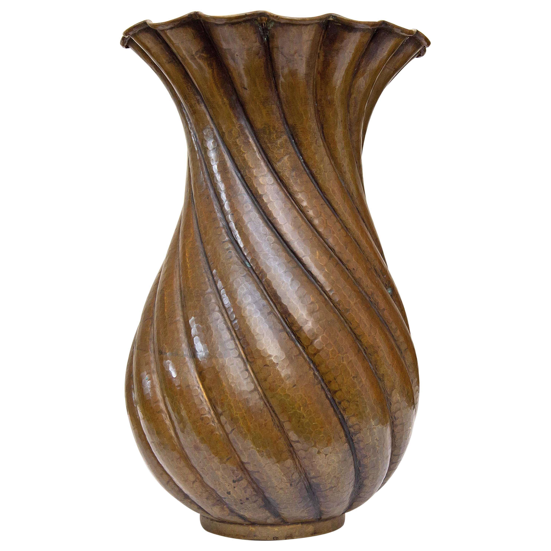 Italian Modernist Hand Formed Copper Vase Midcentury