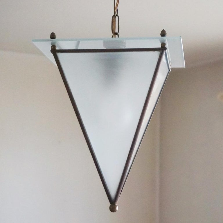 Art Deco Italian Modernist Handcrafted Brass Frosted Glass Pyramid Shaped Lantern, 1950s For Sale