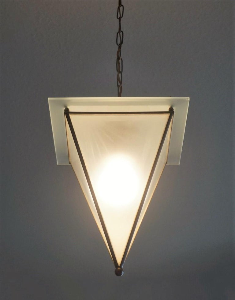 Italian Modernist Handcrafted Brass Frosted Glass Pyramid Shaped Lantern, 1950s For Sale 4
