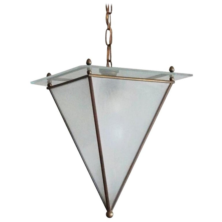 Italian Modernist Handcrafted Brass Frosted Glass Pyramid Shaped Lantern, 1950s For Sale