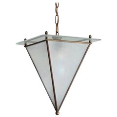 Italian Modernist Handcrafted Brass Frosted Glass Pyramid Shaped Lantern, 1950s