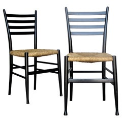 Italian Modernist Ladderback Chairs in the Style of Gio Ponti