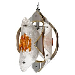 Italian Modernist Mazzega Murano Amber Curved Art Glass Chrome Chandelier, 1970s