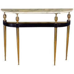 Italian Modernist Midcentury Oval Shaped Gilt Bronze Console Table