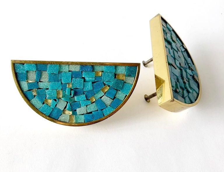 Mid-Century Modern Italian Modernist Turquoise Mosaic Tile Door Drawer Pull Handles For Sale