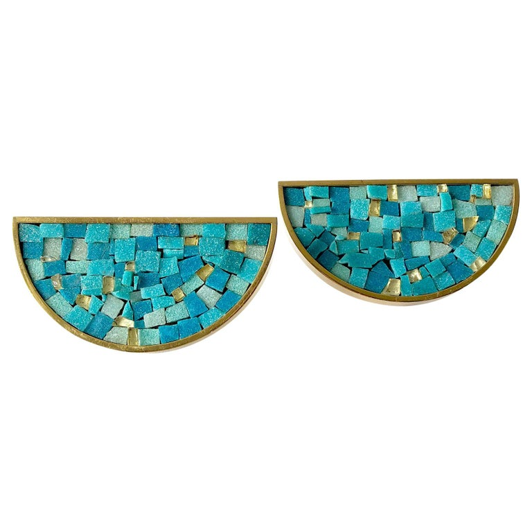 Italian Modernist Turquoise Mosaic Tile Door Drawer Pull Handles For Sale