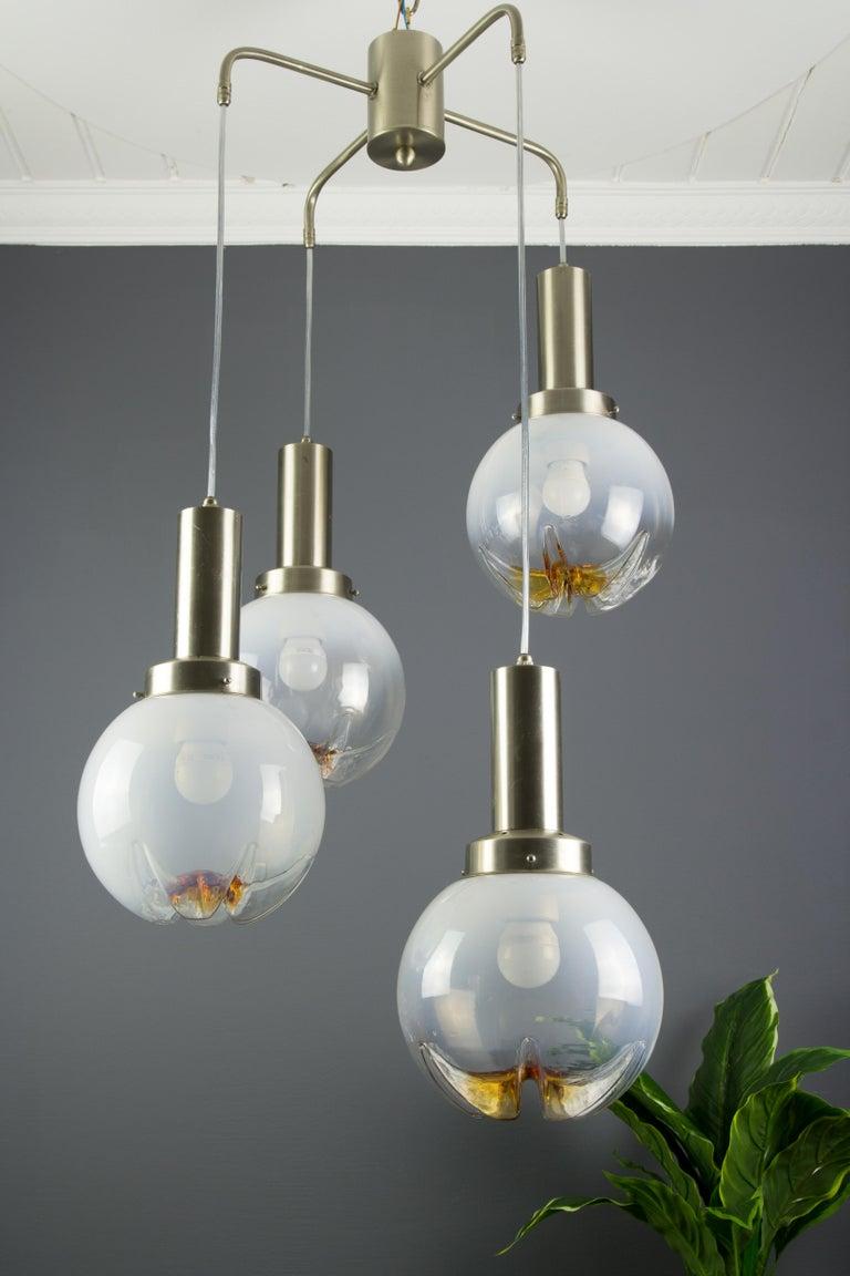 Italian Modernist Murano Art Glass Four-Light Cascade Chandelier, 1970s For Sale 6