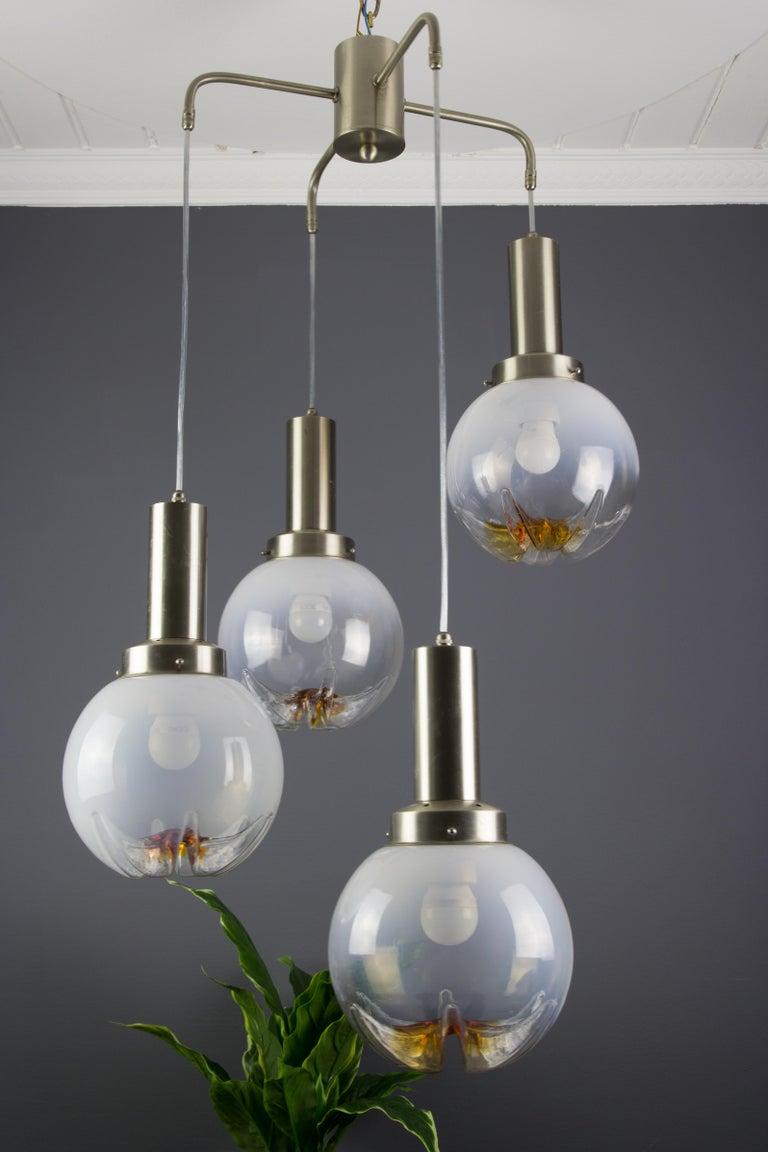 Stainless Steel Italian Modernist Murano Art Glass Four-Light Cascade Chandelier, 1970s For Sale