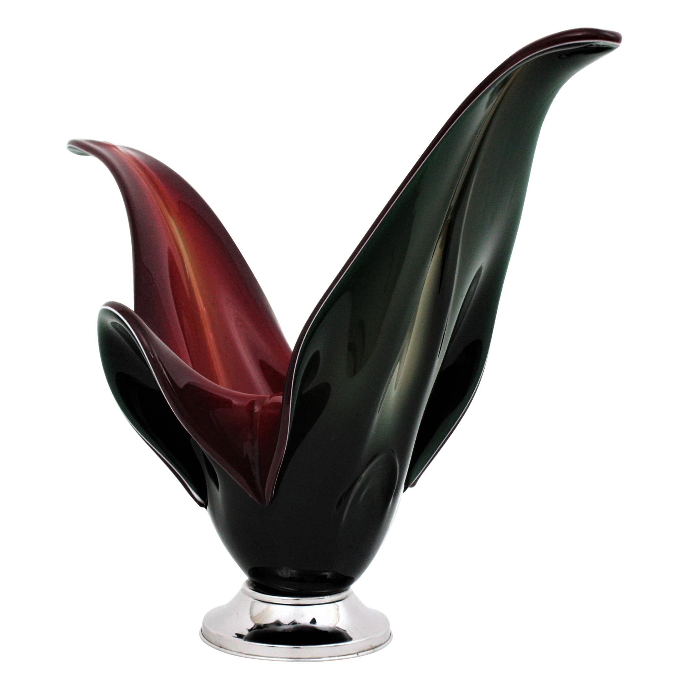 Italian Modernist Murano Black and Red Glass Centerpiece Vase with Chromed Base