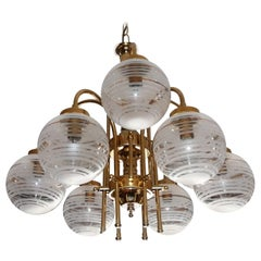 Italian Modernist Murano Etched Glass Gilt Brass Sputnik Orbit 9Light Chandelier