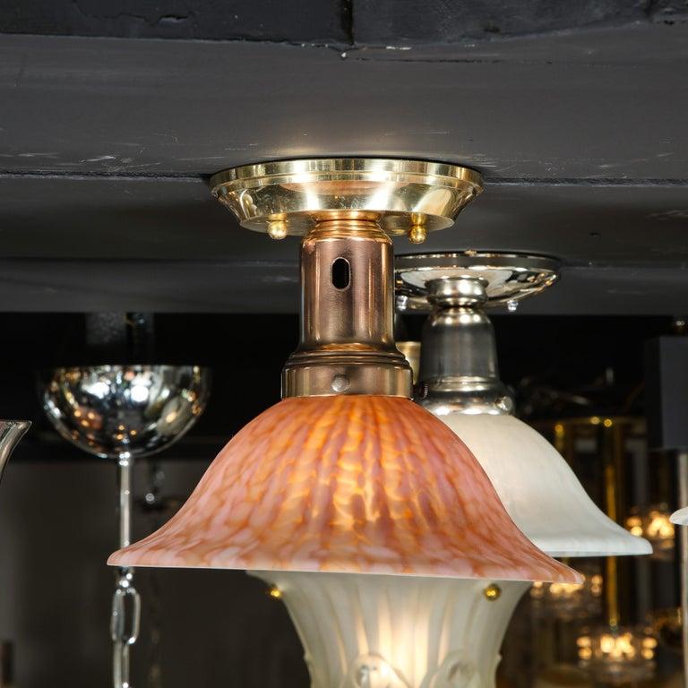 Italian Modernist Murano Glass Flush Mount in Mottled Sherbert Glass In Excellent Condition For Sale In New York, NY