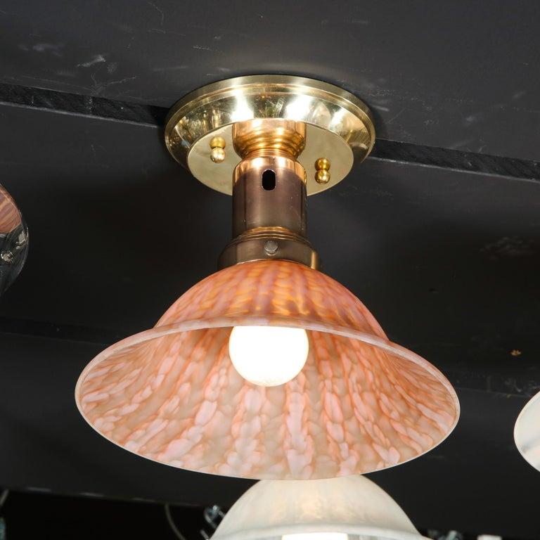 Brass Italian Modernist Murano Glass Flush Mount in Mottled Sherbert Glass For Sale