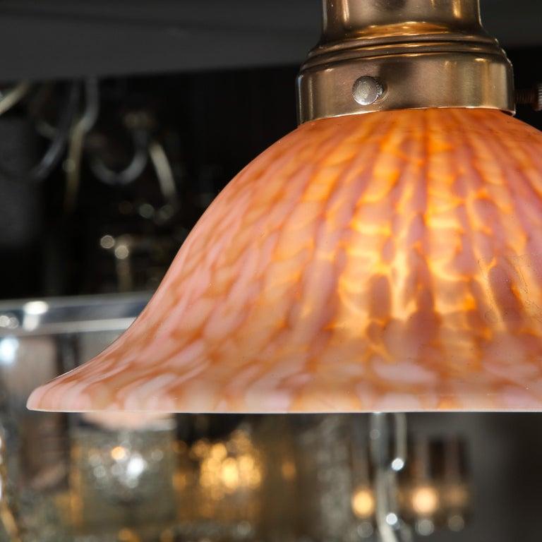 Italian Modernist Murano Glass Flush Mount in Mottled Sherbert Glass For Sale 1