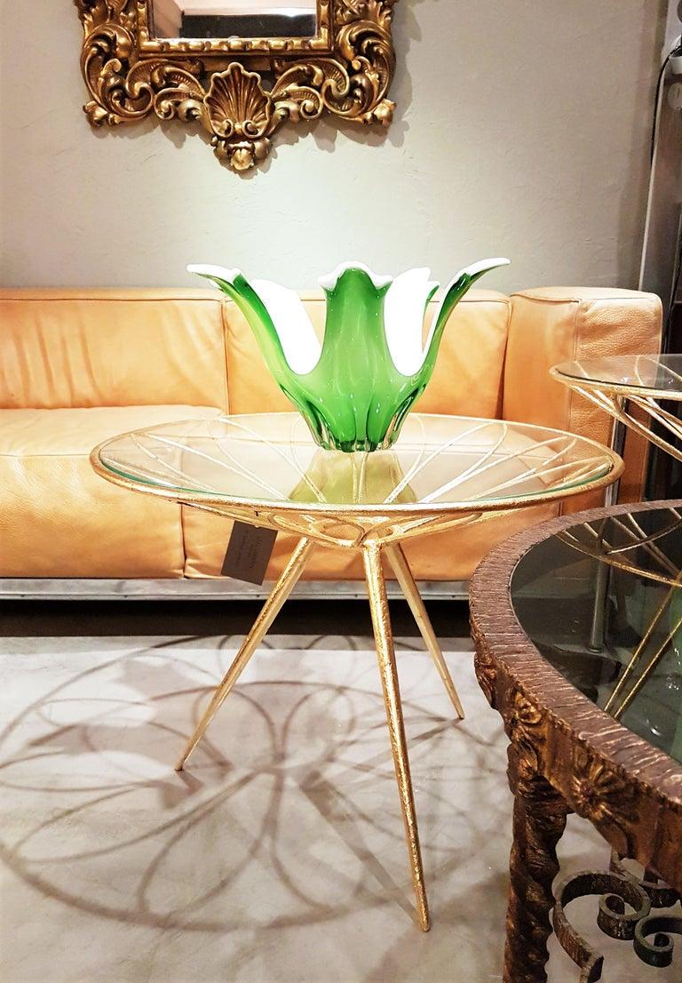 Mid-Century Modern Italian Modernist Murano Green and White Glass Centerpiece Vase / Fruit Bowl For Sale