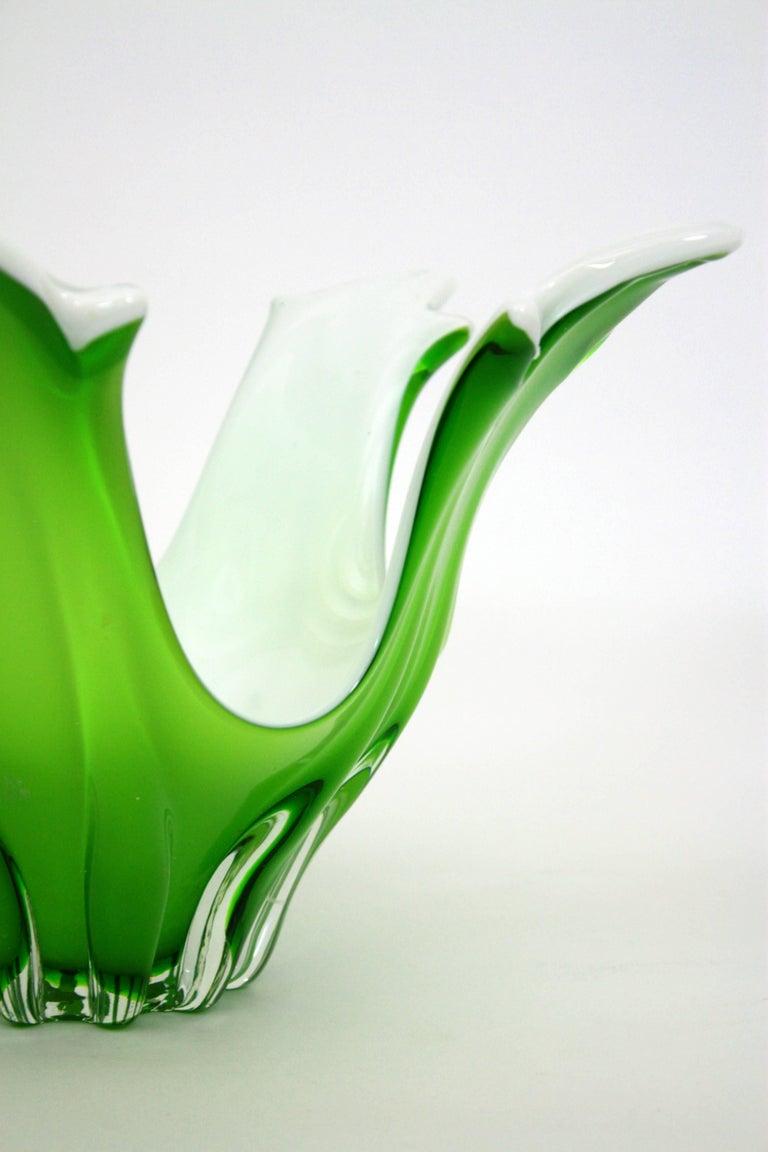 20th Century Italian Modernist Murano Green and White Glass Centerpiece Vase / Fruit Bowl For Sale