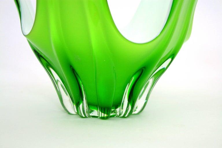 Italian Modernist Murano Green and White Glass Centerpiece Vase / Fruit Bowl For Sale 2