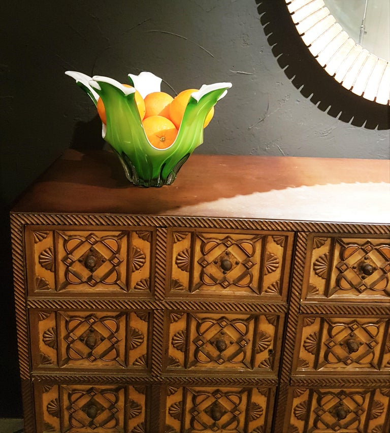 Italian Modernist Murano Green and White Glass Centerpiece Vase / Fruit Bowl For Sale 3
