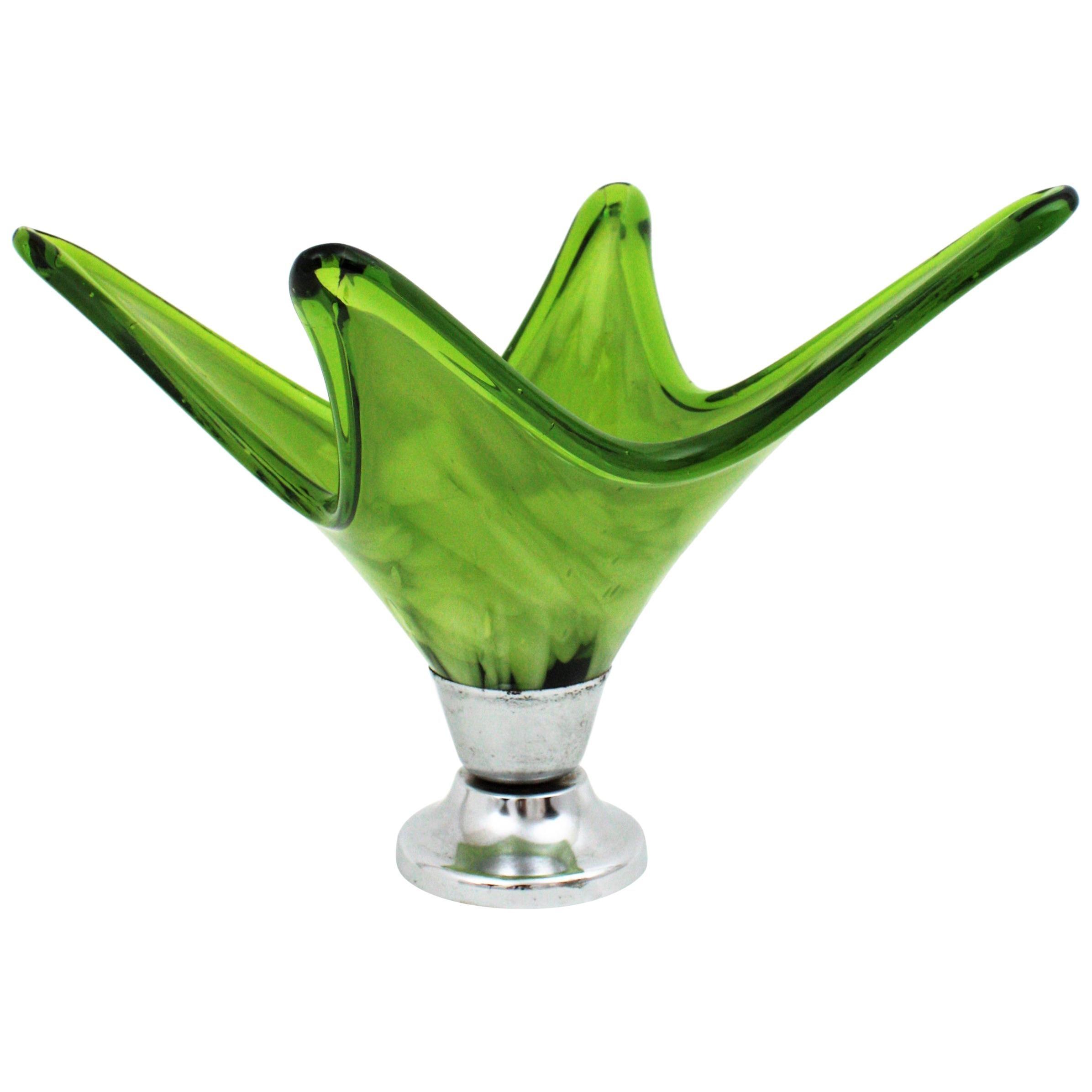 Italian Modernist Murano Green & White Glass Centerpiece Vase with Chromed Base