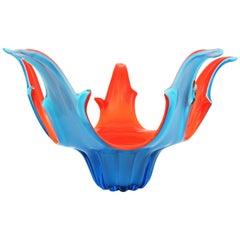 Italian Modernist Murano Orange and Blue Art Glass Centerpiece Bowl