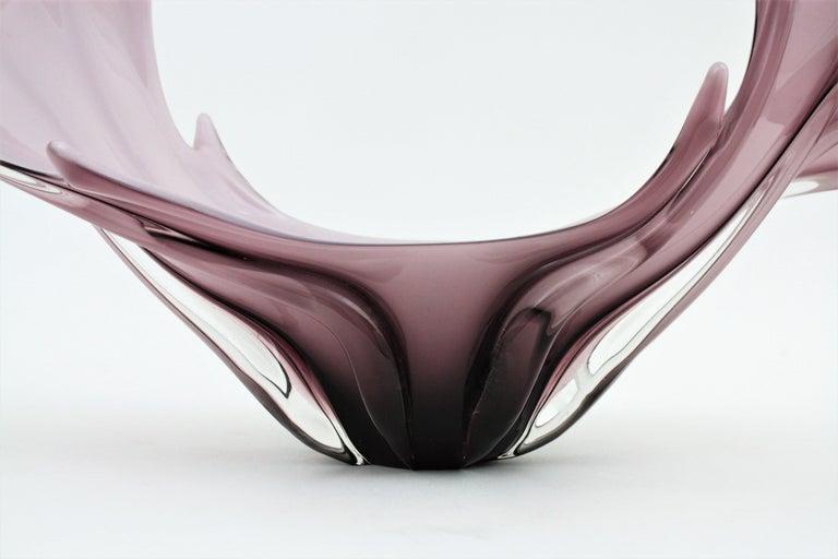 Art Glass Italian Modernist Murano Purple and White Glass Centerpiece Vase For Sale