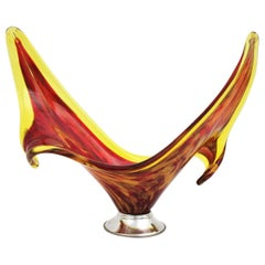 Italian Modernist Murano Red and Yellow Glass Centerpiece Vase with Chromed Base