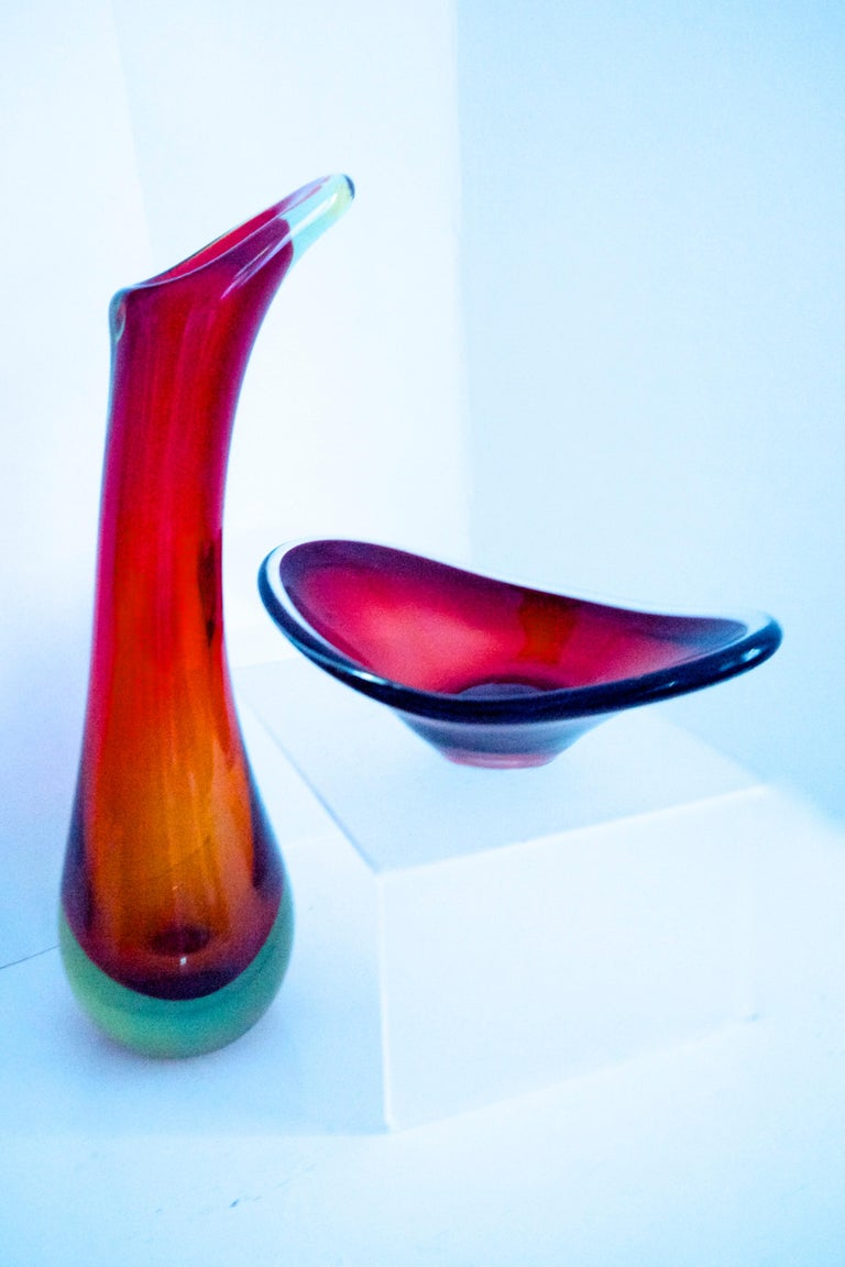 Italian Modernist Murano Sommerso Vase by Flavio Poli with Dish In Good Condition For Sale In Halstead, GB