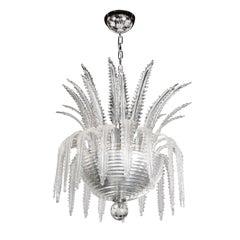 Italian Modernist Plume Form Translucent Murano Glass & Chrome Chandelier