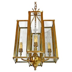 Italian Modernist Polished Brass & Cut Etched Glass 4-Light Lantern & Chandelier