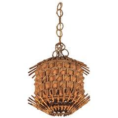Italian Modernist Rattan and Palm Leaf Pagoda Pendant or Hanging Light, 1960s