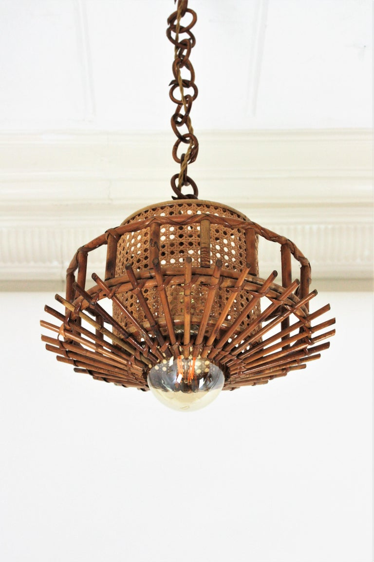 Italian Modernist Rattan Pendant Hanging Light with Woven Wicker Shade, 1960s For Sale 6