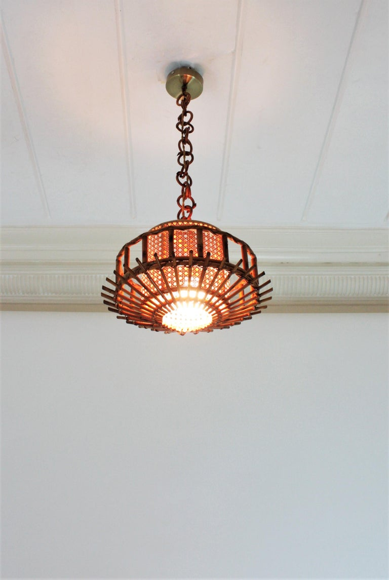Italian Modernist Rattan Pendant Hanging Light with Woven Wicker Shade, 1960s For Sale 7