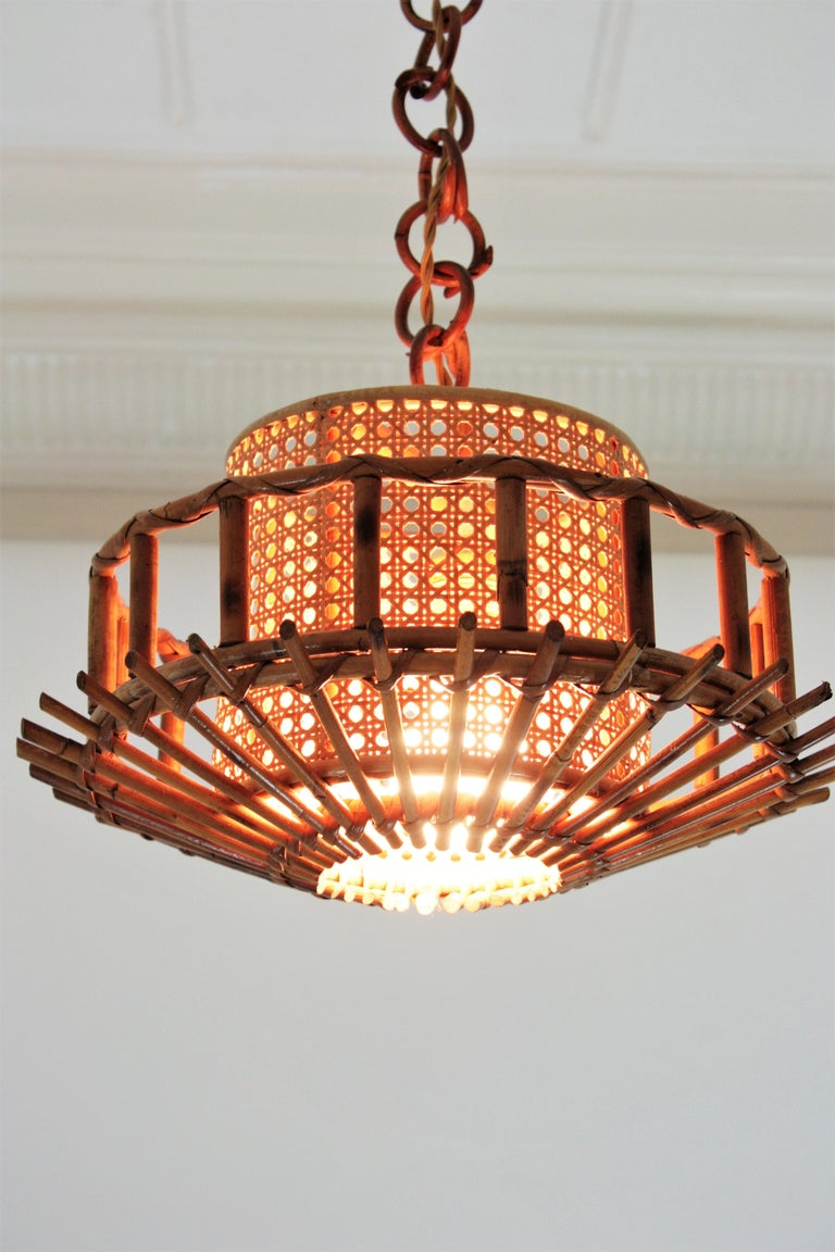 Italian Modernist Rattan Pendant Hanging Light with Woven Wicker Shade, 1960s For Sale 9