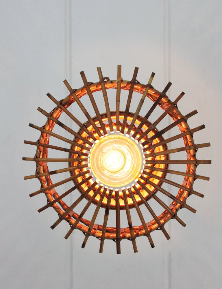 Italian Modernist Rattan Pendant Hanging Light with Woven Wicker Shade, 1960s For Sale 10