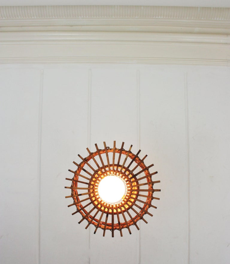 Italian Modernist Rattan Pendant Hanging Light with Woven Wicker Shade, 1960s For Sale 11