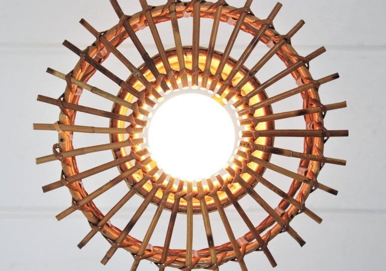 Italian Modernist Rattan Pendant Hanging Light with Woven Wicker Shade, 1960s For Sale 13