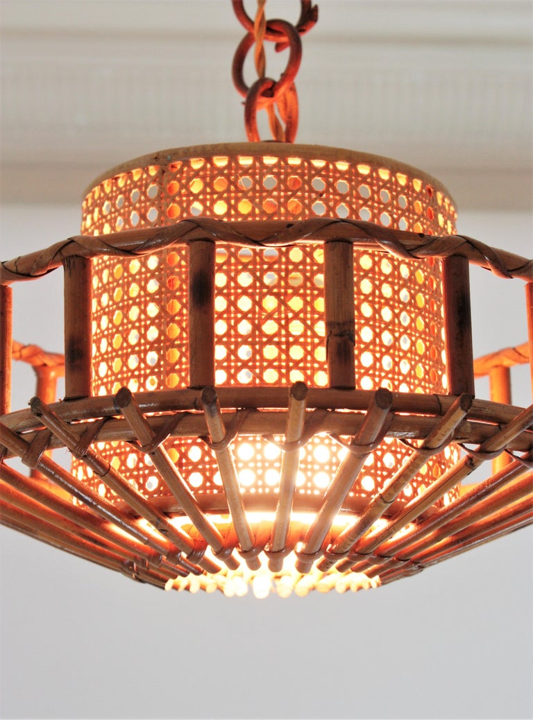 20th Century Italian Modernist Rattan Pendant Hanging Light with Woven Wicker Shade, 1960s For Sale