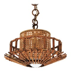 Italian Modernist Rattan Pendant Hanging Light with Woven Wicker Shade, 1960s