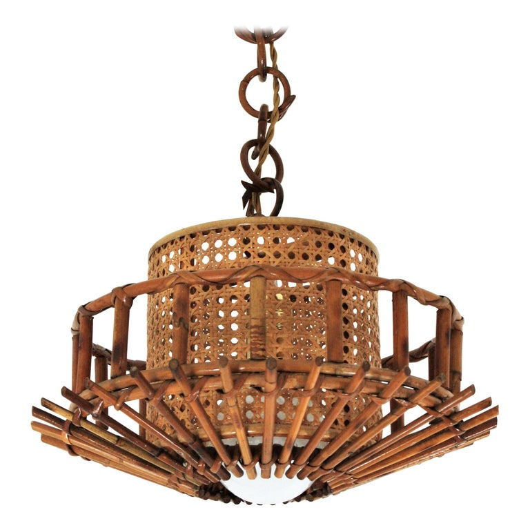 Italian Modernist Rattan Pendant Hanging Light with Woven Wicker Shade, 1960s For Sale