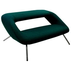 Italian Modernist Sofa of Unusual Design in Emerald