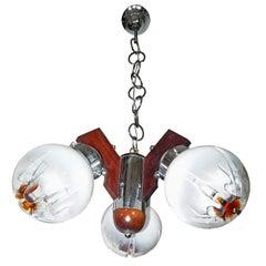 Italian Modernist Sputnik Murano Mazzega Amber Artglass Chrome & Wood Chandelier
